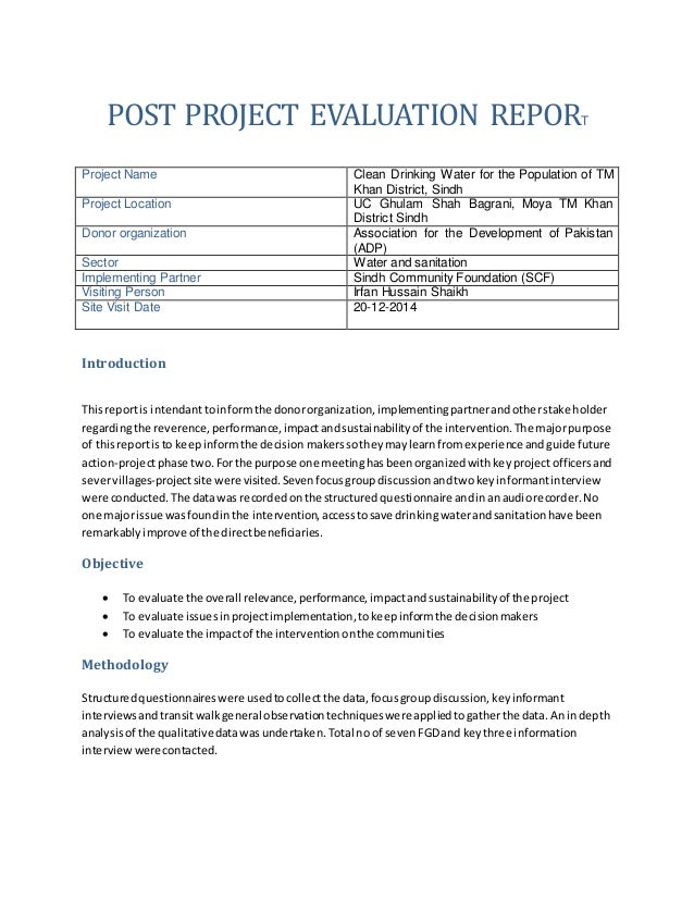 post construction project review example