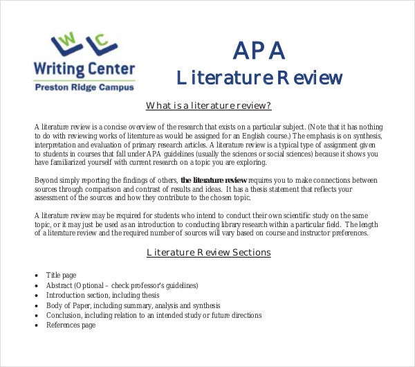 literature review introduction paragraph example