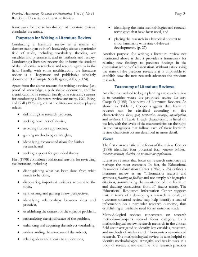 purpose of literature review in quantitative research